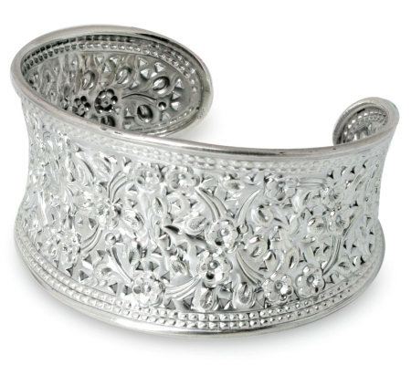 "Novica Artisan Crafted Sterling ""Eastern Blossoms"" Cuff"