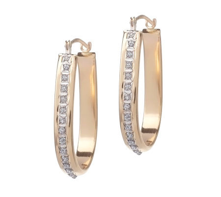 Diamond Fascination Hoop Earrings, 14K Yellow Gold