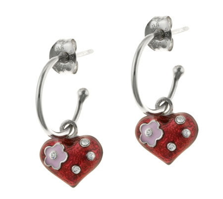 Mixers Sterling Enamel Heart Charm Hoop Earrings