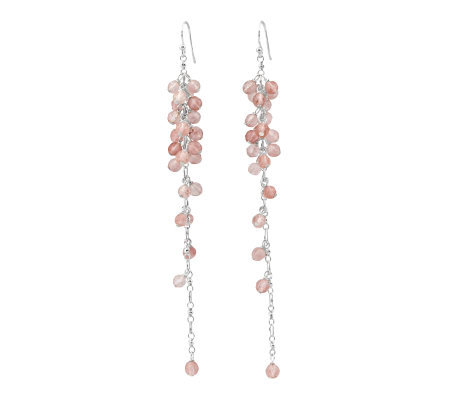Sterling Pink Quartz Bead Dangle Earrings