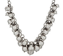 "Italian Silver Sterling 18"" Polished Bead Charm Frontal Necklace, 57.1g - J317303"