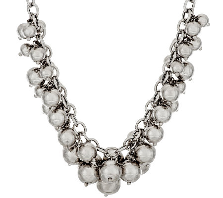 "VicenzaSilver Sterling 18"" Polished Bead Charm Frontal Necklace, 57.1g"