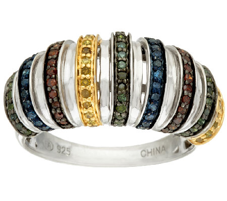 Multi-Color Diamond Ring, Sterling, 1/2 cttw, by Affinity