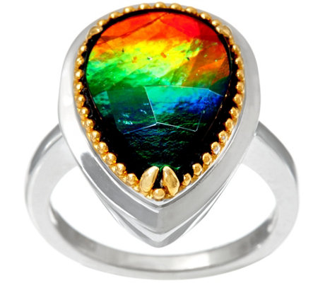 Ammolite Triplet Pear Shaped Sterling/14K Ring