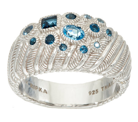 Judith Ripka Sterling Scattered Blue Topaz Ring