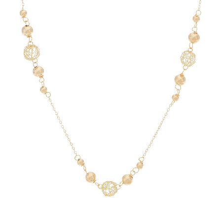 "EternaGold 30"" Open Work Bead Necklace 14K Gold, 4.4g"