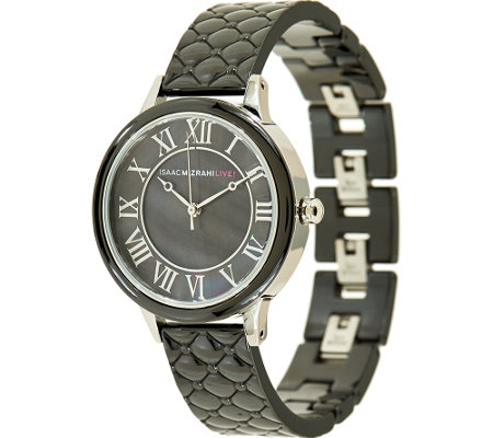 Isaac Mizrahi Live! Quilted Ceramic Mother-Of-Pearl Dial Watch