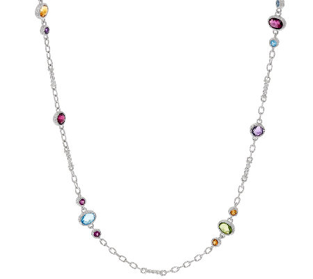 "Judith Ripka 20"" Sterling 8.70 cttw Gemstone Necklace"