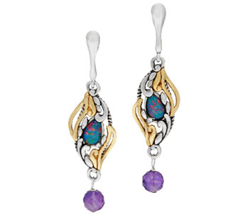 Carolyn Pollack Sterling & Brass Opal Triplet Earrings - J324103