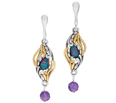 Carolyn Pollack Sterling & Brass Opal Triplet Earrings