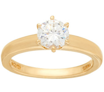 Diamonique 1.00 cttw Solitaire Ring, 14K Yellow Clad - J326503