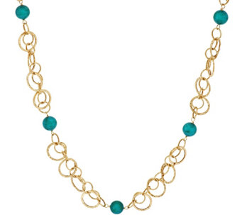 """As Is"" Vicenza Gold 18"" Turquoise Bead Hammered Link Necklace, 14K - J327003"
