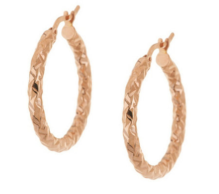 """As Is"" Vicenza Gold 1"" Round Diamond Cut Hoop Earrings 14K"