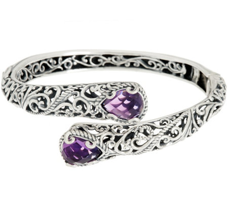 Carolyn Pollack Sterling Silver Signature 5.50ct Amethyst Bypass Cuff