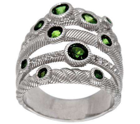 Judith Ripka Sterling Silver Multi-Row 1.00 cttw Gemstone Ring
