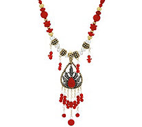 Sterling/Brass & Coral Bead Necklace & Enhancer by American West - J330503