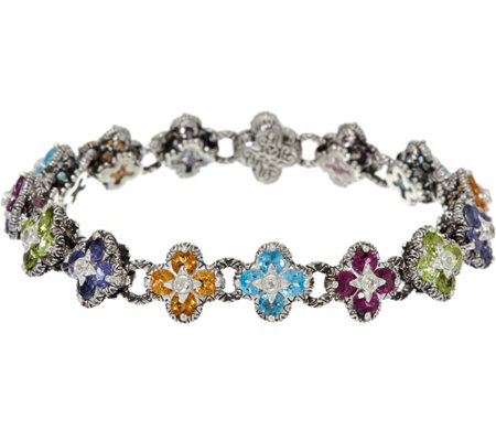 """As Is"" Barbara Bixby Sterling & 18K 8.00 cttw Gemstone Flower 7-1/4"" Bracelet"