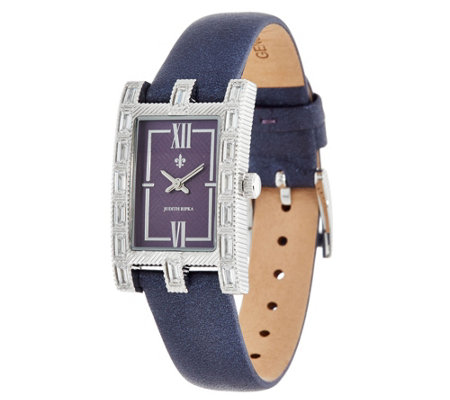 Judith Ripka Stainless Steel Versailles Diamonique Baguette Watch