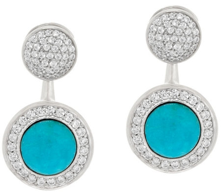 """As Is"" Vicenza Silver Sterling Crystal Stud w/Turquoise Earring Jackets"