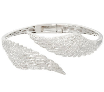 """As Is"" Angel Wing Diamond Bangle Sterling 1/3 cttw by Affinity - J332503"