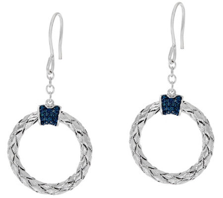 """As Is"" Circle Diamond Drop Earrings Sterl. 1/5 cttw by Affinity"