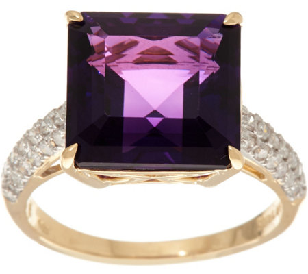 Princess Cut African Amethyst & Diamond Ring 14K, 4.00 ct