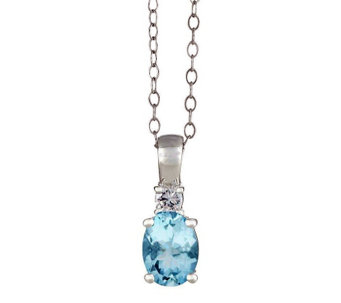 Premier Oval Aquamarine and 1/10cttw Diamond Pendant, 14K - J336203