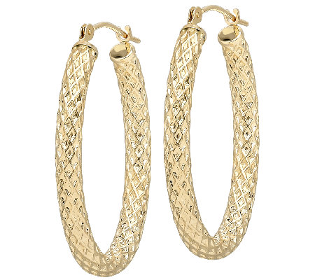 EternaGold Oval Basket Weave Tube Hoop Earrings, 14K Gold