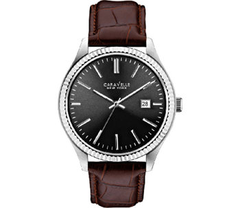 Caravelle New York Men's Brown Leather Band Watch - J336803