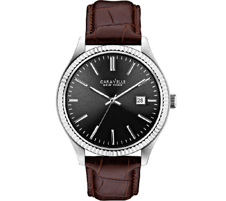 Caravelle New York Men's Brown Leather Band Watch