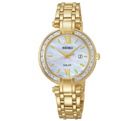 Seiko Women's Goldtone Crystal-Accented Bracelet Watch