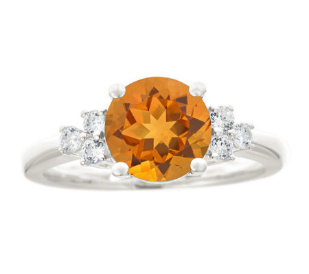 Premier 1.50cttw Round Citrine & Diamond Ring,14K