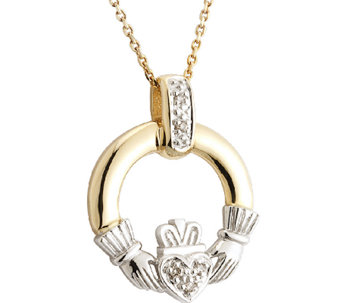 Solvar Diamond Claddagh Pendant w/ Chain, 14K Gold - J338003