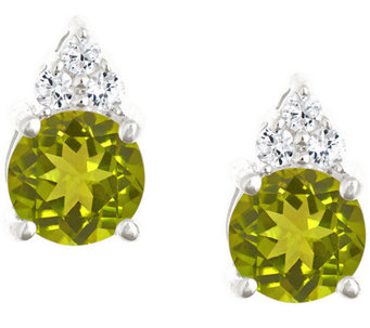 Premier 1.35cttw Round Peridot & Diamond Earrings, 14K - J338203