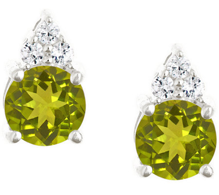 Premier 1.35cttw Round Peridot & Diamond Earrings, 14K