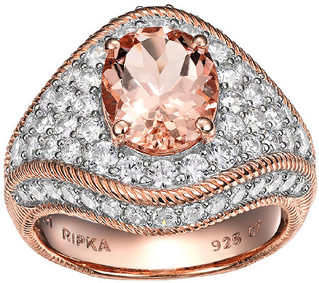 Judith Ripka Sterling/14K Rose Morganite & Diamonique Ring