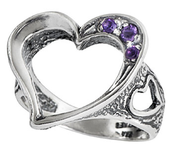Sterling Silver Open Heart Amethyst Ring by OrPaz - J338603
