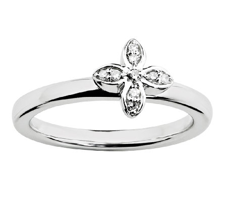Simply Stacks Sterling Floral Diamond Ring