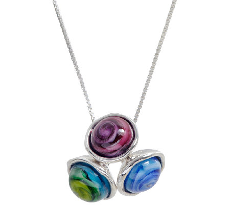 Kalos by Hagit Sterling Triple Glass Bead CharmNecklace