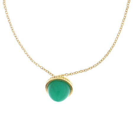 "Sterling & 14K Gold-Plated Chrysoprase  Pendantw/ 17"" Chain"
