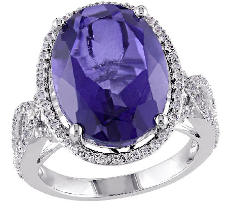 8.80cttw Blue Quartz Cocktail Ring, Sterling