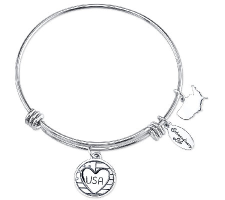 Sterling Expandable USA Charm Bangle by Extraordinary Life