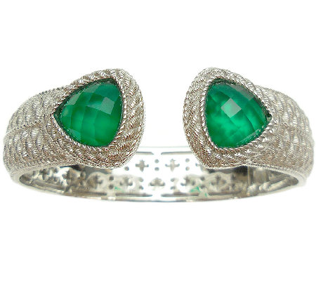 Judith Ripka Sterling Green Chalcedony Doublet Top Hinge Cuff