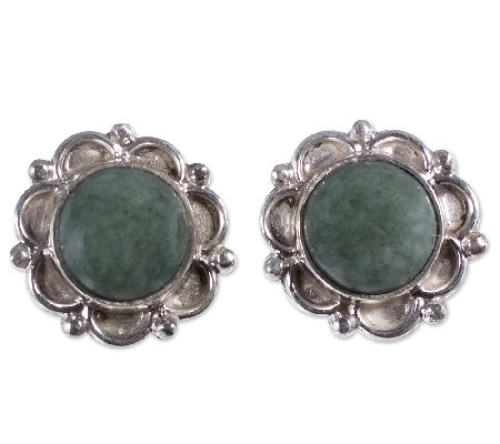 Novica Artisan Crafted Sterling Jade Dahlia Stud Earrings