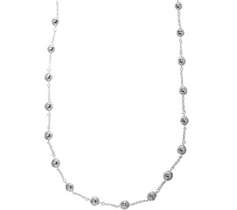 "UltraFine Silver 36"" Polished Bead Station Necklace - J341403"