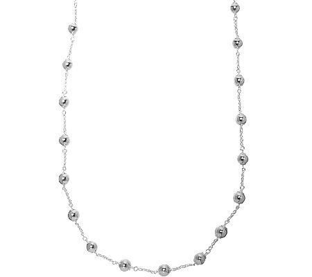 "UltraFine Silver 36"" Polished Bead Station Necklace"