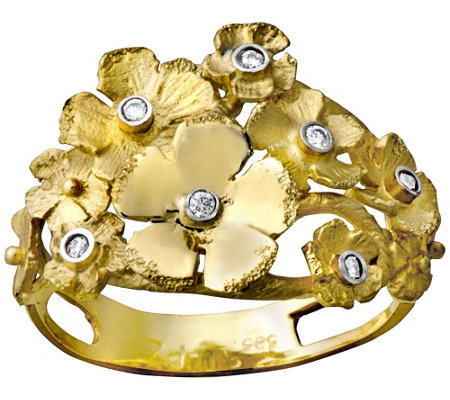 14K Gold Diamond Accent Flower Ring by Adi Paz