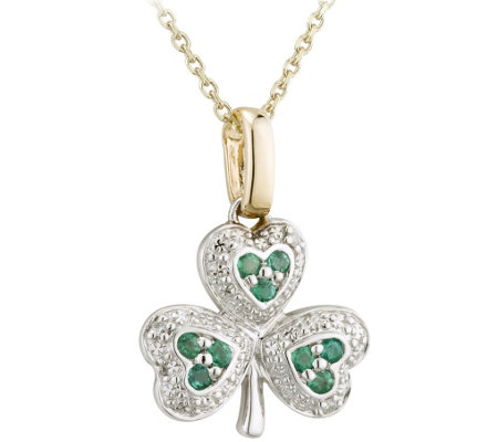 Solvar Diamond and Emerald Shamrock Pendant with Chain, 14K