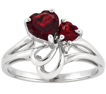 Double Heart Garnet and Diamond Accent Ring, 14K Gold