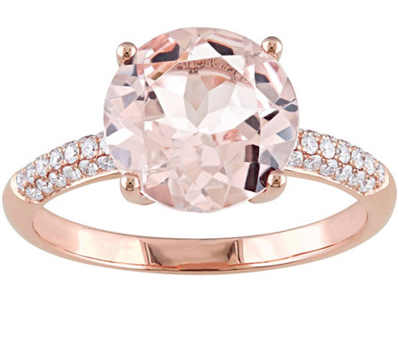 3.55 ct Morganite and 1/7 cttw Diamond Ring, 14K Rose Gold